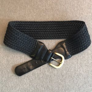 High waisted leather and woven belt